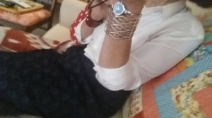 Personal Style: Japanese Cotton Skirt, Tailored Silk Blouse, Frank Lloyd Wright Bracelet, Handmade Red Leather & Silver Bracelet from SF Street Vendor @ Ferry Building