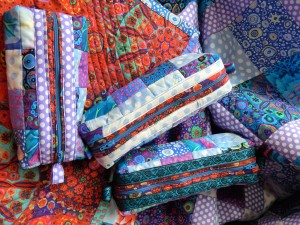"Quilted bags made to utilize scraps from 80""x60""quilt made last summer."