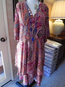 Vintage Style Pink Paisley Voile Tier Skirt Dress with draped sleeves